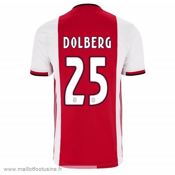 NO.25 Dolberg Domicile Maillot Ajax 2019 2020 Rouge Discount