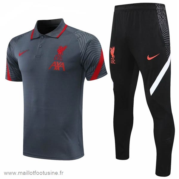 Ensemble Complet Polo Liverpool 2020 2021 Gris Noir Discount