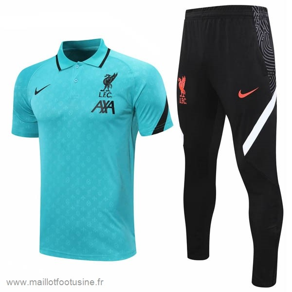 Ensemble Complet Polo Liverpool 2020 2021 Vert Noir Discount