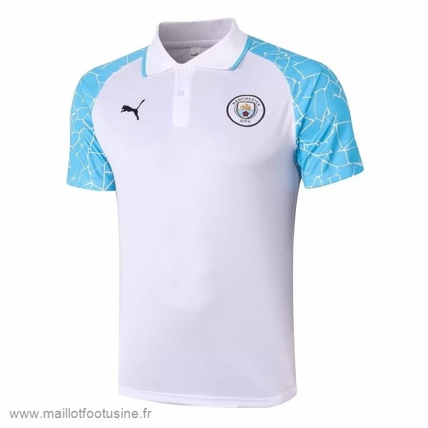 Polo Manchester City 2020 2021 Blanc Bleu Discount