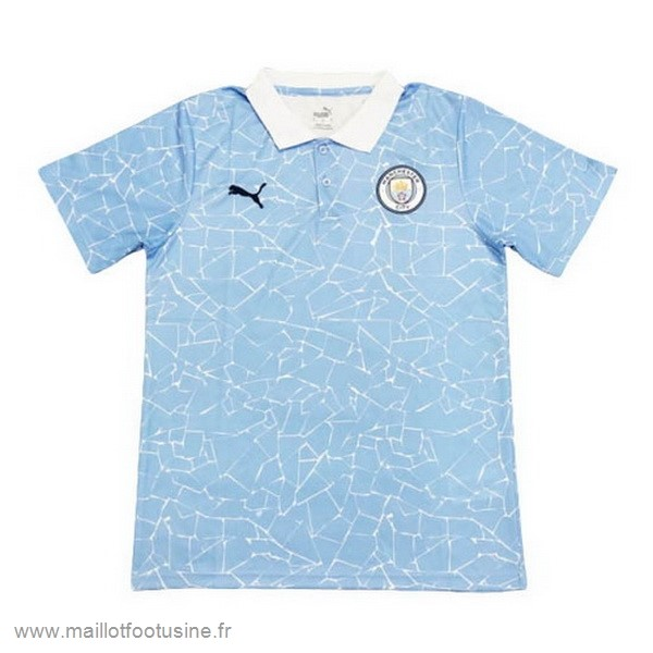 Polo Manchester City 2020 2021 Bleu Blanc Discount