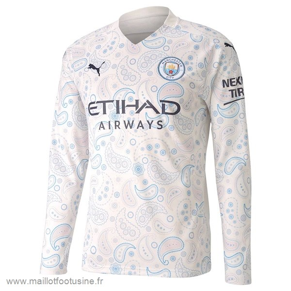 Third Manches Longues Manchester City 2020 2021 Blanc Discount