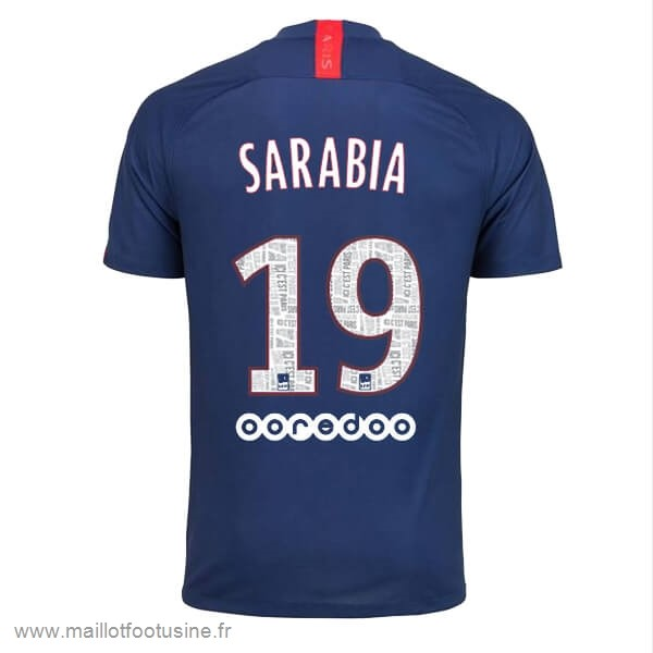 NO.19 Sarabia Domicile Maillot Paris Saint Germain 2019 2020 Bleu Discount
