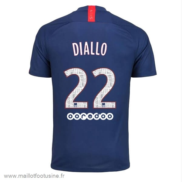 NO.22 Diallo Domicile Maillot Paris Saint Germain 2019 2020 Bleu Discount