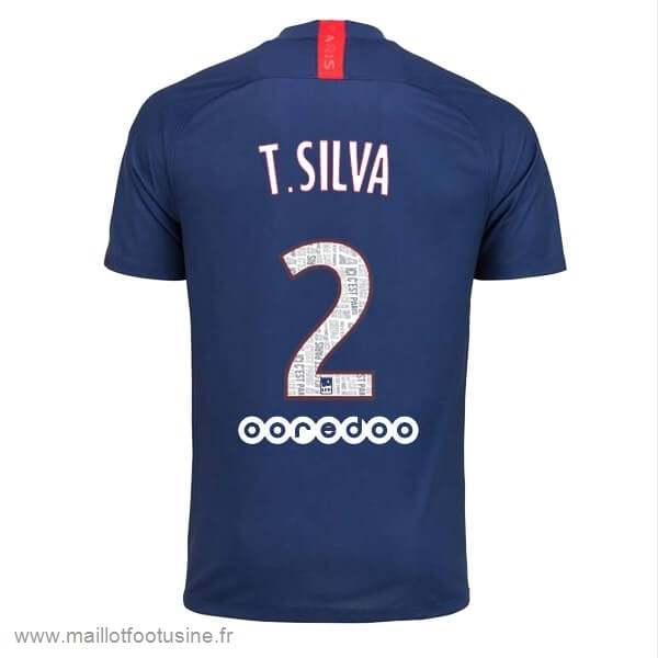 NO.2 T.Silva Domicile Maillot Paris Saint Germain 2019 2020 Bleu Discount
